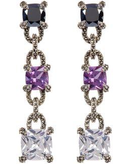 Faceted Princess Crystal & Marcasite Detail Drop Earrings