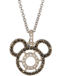 Sterling Silver Swarovski Marcasite & Crystal Mickey Pendant Necklace