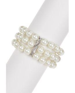 Sterling Silver Swarovski Marcasite, Crystal & Glass Pearl Line Bracelet