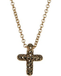 Gold Plated Sterling Silver Reversible Pave Cross Pendant Necklace