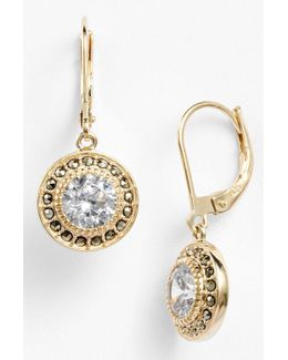 Gold Plated Sterling Silver Marcasite & Cz Drop Earrings