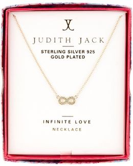 10k Gold Plated Sterling Silver Pave Swarovski Embellished Reversible Infinity Pendant Necklace