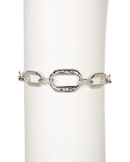 Sterling Silver Hammered Chain Link Swarovski Marcasite Studded Bracelet