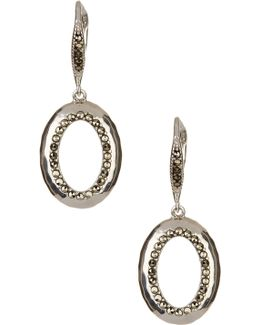 Sterling Silver Swarovski Marcasite Embellished Drop Earrings