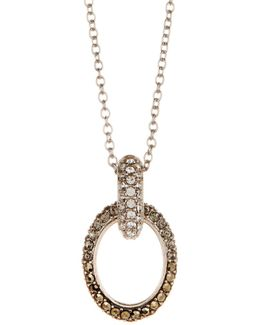 Sterling Silver Graduate Pave Linked Pendant Necklace