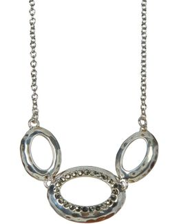 Sterling Silver Marcasite Detail Circle Pendant Necklace