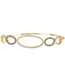 Gold Plated Sterling Silver Swarovski Marcasite Open Link Bangle
