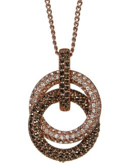 Crystal & Marcasite Interlocked Ring Pendant Necklace