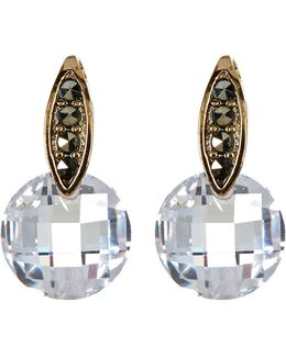 10k Gold Plated Round Cz Drop & Marcasite Accent Post Earrings