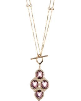 Gold Plated Sterling Silver Swarovski Marcasite, Glass & Crystal Toggle Necklace