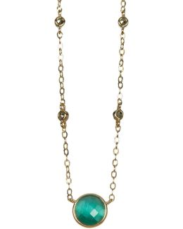 10k Gold Plated Green Cats Eye Charm & Marcasite Detail Necklace
