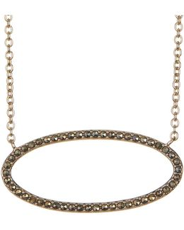 Gold-tone Marcastie Detail Oval Pendant Necklace