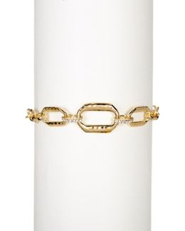 Gold Plated Sterling Silver Chain Link Swarovski Marcasite Studded Bracelet