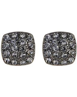 Crystal Pave Cushion Stud Earrings