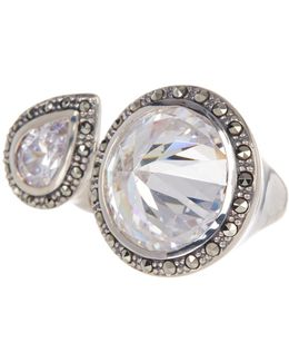 Faceted Halo Set Crystal Open Ring - Size 9
