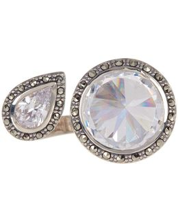 Faceted Pear & Round Crystal & Halo Set Marcasite Open Ring