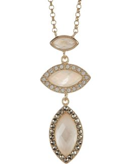 Gold Plated Sterling Silver Swarovski Marcasite, Crystal & Mother Of Pearl Marquise Pendant Necklace