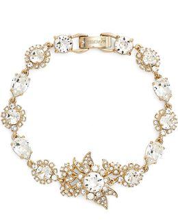 Goldtone White Metal Cluster Bracelet