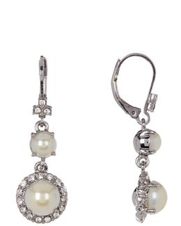 Simulated Pearl & Crystal Double Drop Earrings