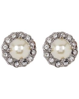 Simulated Pearl & Crystal Button Earrings