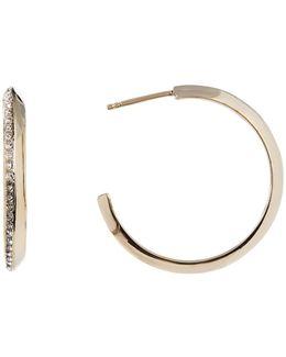 Crystal & Marcasite Detail 31mm Hoop Earrings