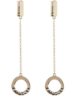 Gold Plated Crystal & Marcasite Detail Drop Circle Earrings