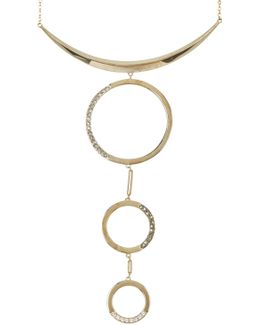 10k Gold Plated Gemstone Detail Open Circle Pendant Drop Necklace