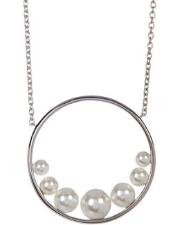 Crystal, Pearl, & Marcasite Detail Circle Pendant Necklace
