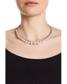 Sterling Silver Marcaste & Glass Pearl Detail Collar Necklace