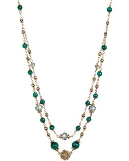 Marcasite & Crystal Ball & Bead Double Layer Necklace