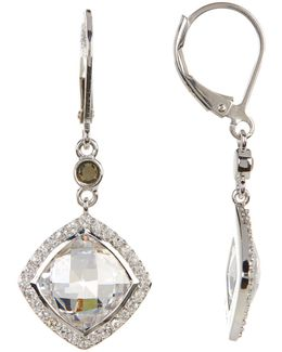 Sterling Silver Marcasite & Crystal Detail Drop Earrings