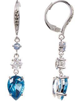 Sterling Silver Triple Drop Crystal Earrings