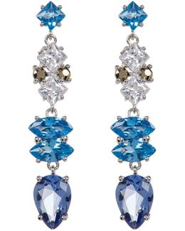 Sterling Silver Multicolor Crystal & Marcasite Drop Earrings