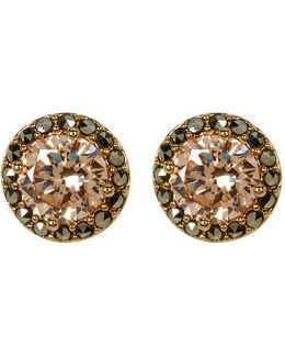 10k Gold Plated Cz & Marcasite Halo Stud Earrings