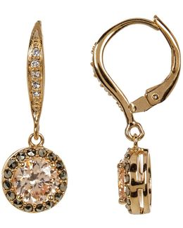 10k Gold Plated Cz & Marcasite Halo Drop Earrings