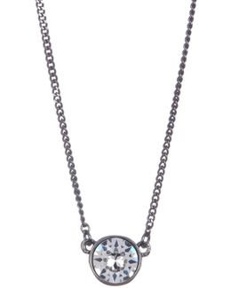 Crystal Accented Stone Pendant Necklace
