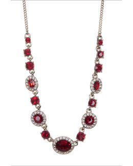 Crystal Accented Dramatic Stone Necklace