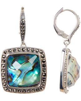 Faceted Princess Crystal & Halo Set Marcasite Detail Drop Earrings