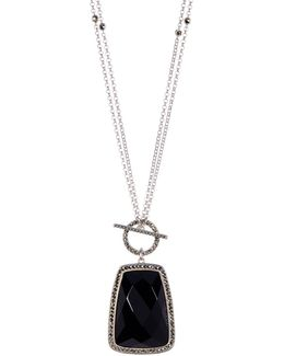 Crystal & Halo Set Marcasite Detail Pendant Convertible Necklace