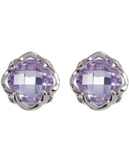 Princess Purple Crystal & Marcasite Detail Stud Earrings