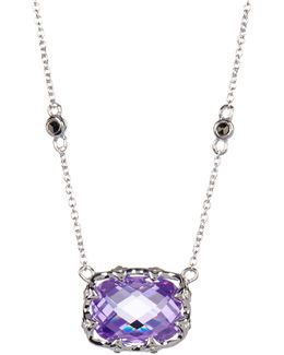 Marcasite & Radiant Purple Crystal Charm Necklace