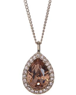 Crystal Accented Pear Pendant Necklace
