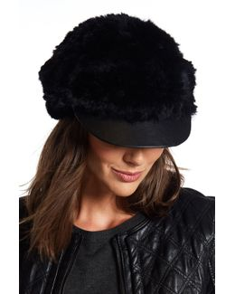 Genuine Rabbit Fur Cabbie Hat