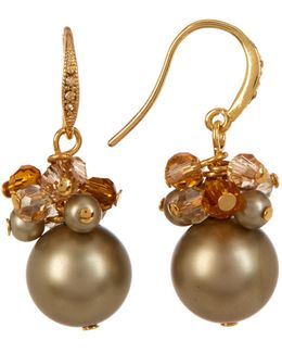 Cluster Simulated Pearl Drop Earrings