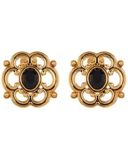 Large Scroll Button Earrings