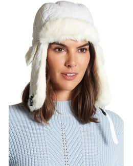 Genuine Rabbit Fur Trim Quilted Trooper Hat