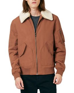 Derby Flight Jacket With Detachable Faux Fur Collar