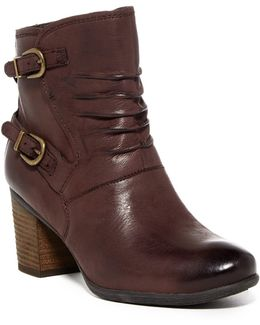 Britney Ruched Leather Ankle Boot