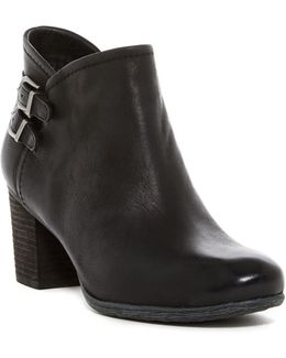 Britney Dual Buckle Leather Ankle Boot
