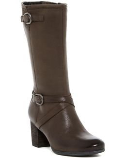 Britney Buckled Leather Mid Boot